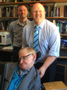 Brett Bigham with Dr. Stephen Hawking. Photo courtesy Althea