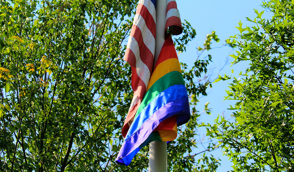 Pride Flag Hangs at Ridgewood High School