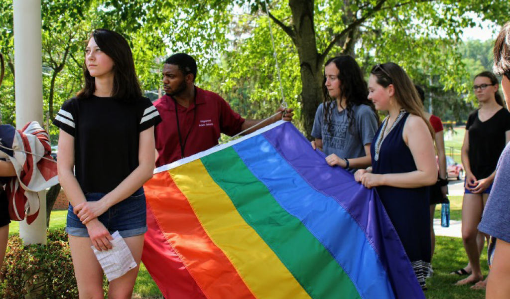 Students of Ridgewood High School Hang Pride Flag